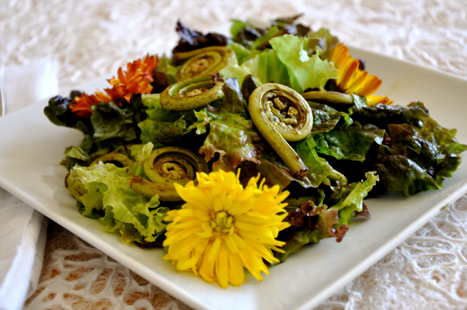 Spring Salad with Fiddleheads pic