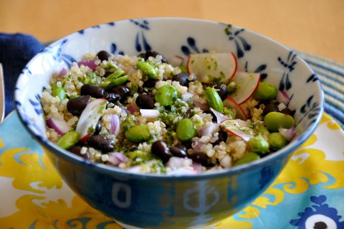 quinoa salad with black beans & edamame