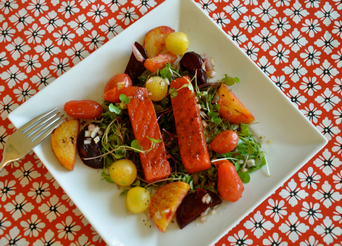 Grilled Watermelon Salad with Beets & Tomatoes