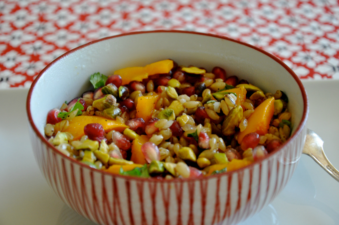 Barley Bowl with Roasted Squash, Pomegranate & Pistachios