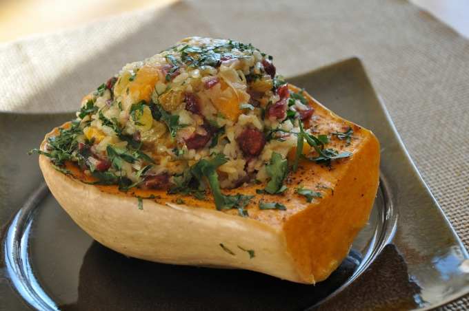 roasted butternut squash with Jasmine Rice stuffing