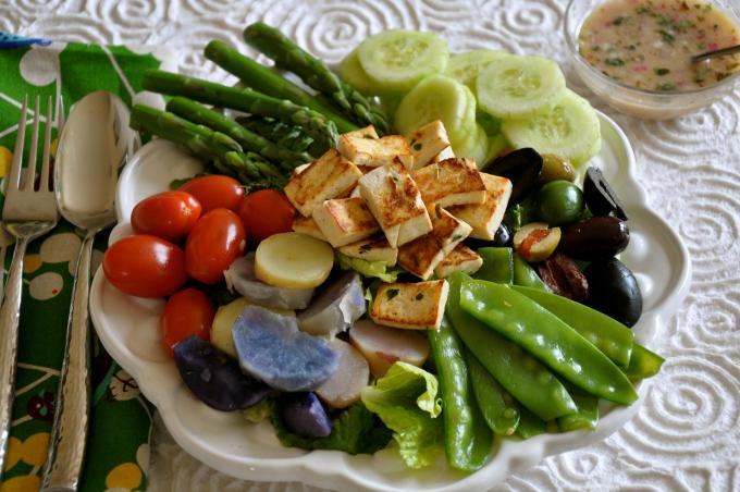 Crispy Tofu Nicoise Salad with Mustard Vinaigrette