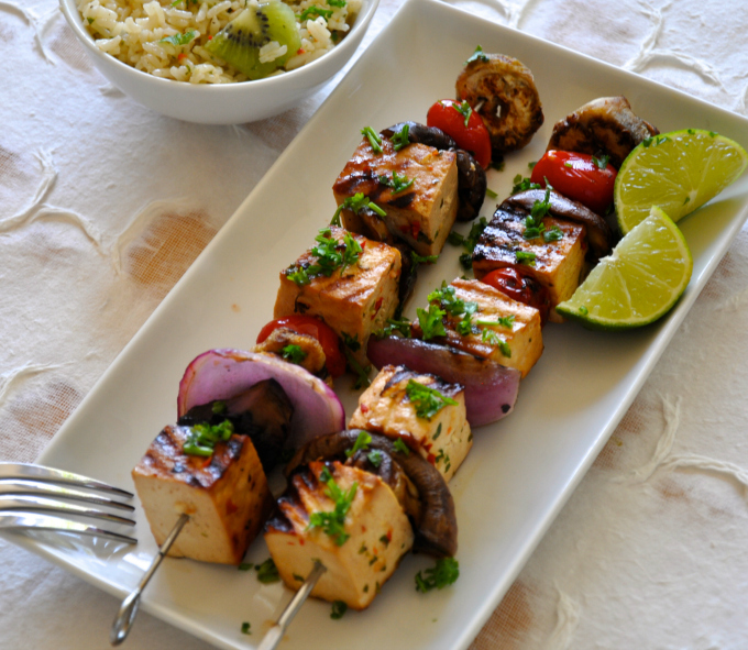 thai grilled tofu & vegetables shish kebab