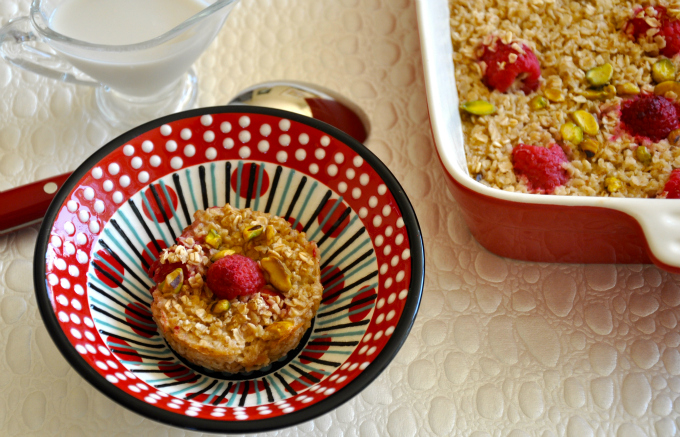 Baked Oatmeal with Raspberries & Pistachios