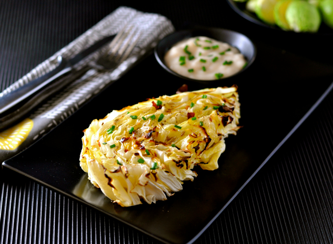 wedges of cabbage baked with a zest lemon yogurt sauce.