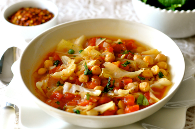 This chickpea soup is packed with protein and fiber.